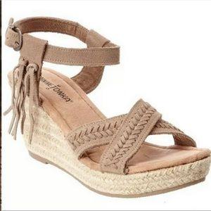 Minnetonka Tan Naomi Ankle Strap Wedge Sandals